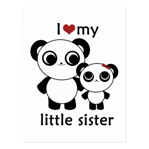 Panda - amor de I mi pequeña hermana Postales