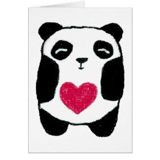 Panda con una tarjeta de nota del corazón