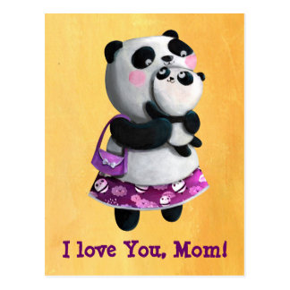 Panda de la mama con su niño postal