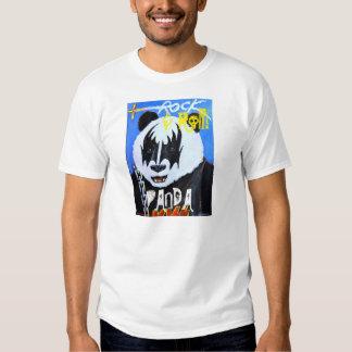Panda de la roca y del rollo camisetas