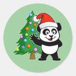 Panda de Papá Noel Etiqueta Redonda