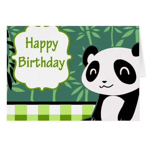 Panda del bambú del verde del feliz cumpleaños tarjetón | Zazzle