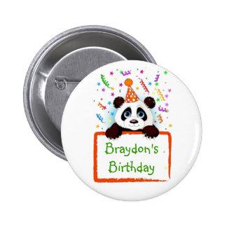 Panda del cumpleaños chapa redonda de 5 cm