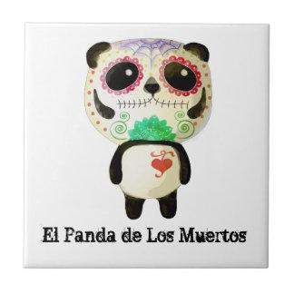 Panda del día de los muertos azulejo cuadrado pequeño