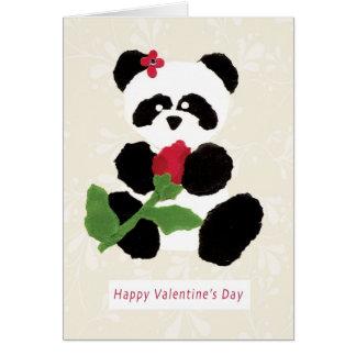 Panda del el día de San Valentín Tarjeta De Felicitación