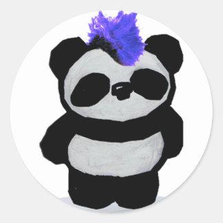 Panda del punk rock etiqueta redonda