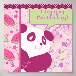 Panda del rosa de la sandía del feliz cumpleaños posters