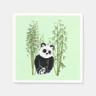 Panda en bambú servilletas desechables