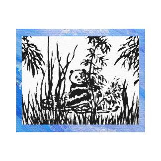 Panda en el arte de bambú 3 de la decoración del lona estirada galerías