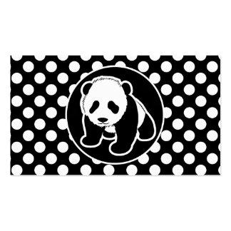 Panda en lunares blancos y negros plantillas de tarjetas personales