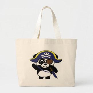Panda en traje del pirata de los azules marinos bolsas