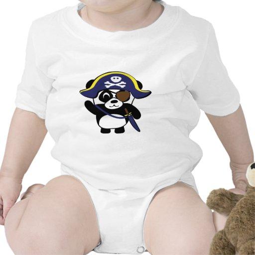 Panda en traje del pirata de los azules marinos trajes de bebé