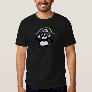 Panda en traje del pirata de los azules marinos camisetas