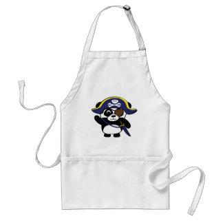 Panda en traje del pirata de los azules marinos delantal
