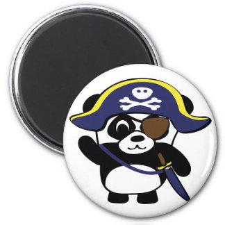 Panda en traje del pirata de los azules marinos iman