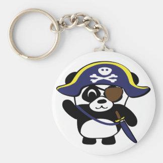 Panda en traje del pirata de los azules marinos llavero redondo tipo chapa
