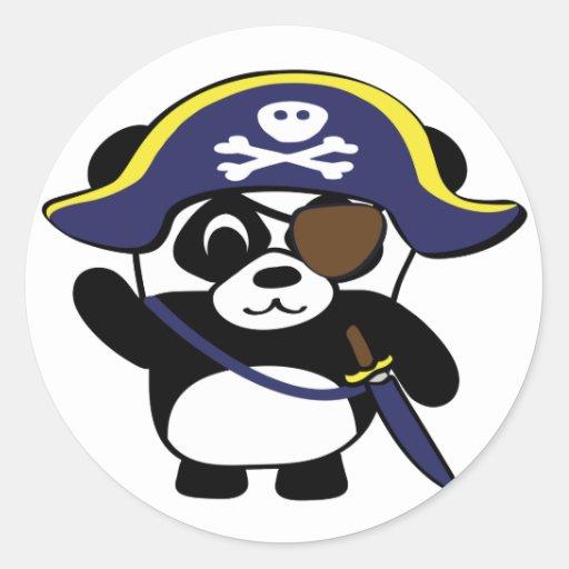 Panda en traje del pirata de los azules marinos etiqueta redonda