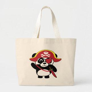Panda en traje rojo del pirata bolsa de mano