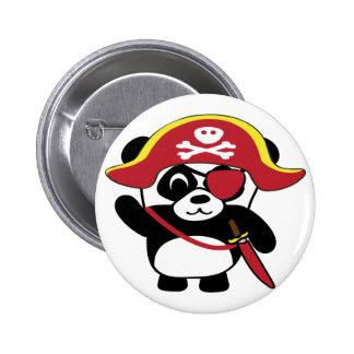 Panda en traje rojo del pirata pin