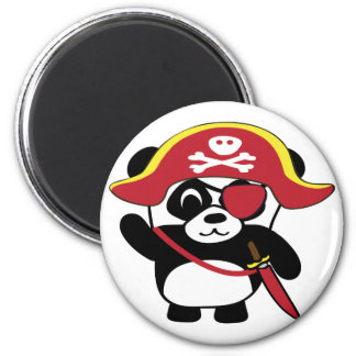 Panda en traje rojo del pirata imanes de nevera