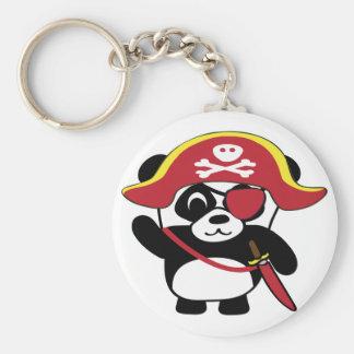 Panda en traje rojo del pirata llavero redondo tipo chapa