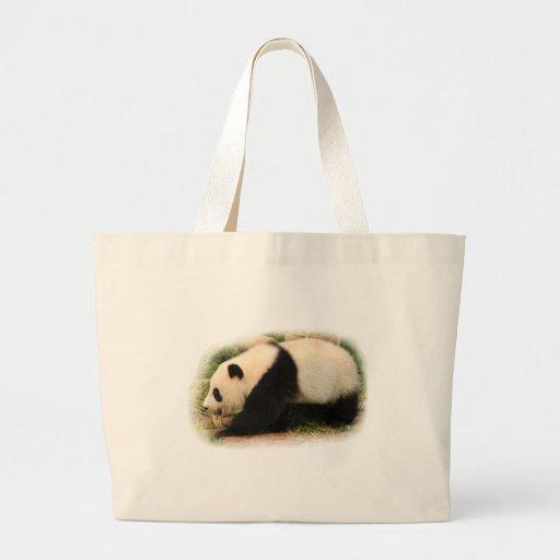 Panda. gigante joven bolsas lienzo