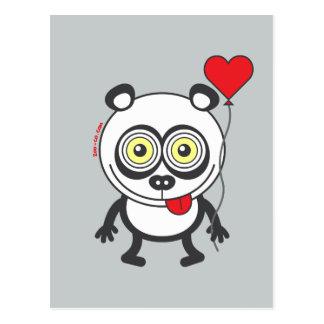 Panda, globo del corazón, sintiendo loco en amor postal