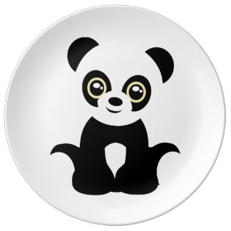 Panda ilustrada linda plato de porcelana
