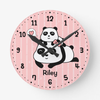 Panda linda Cub y decoración del sitio del cuarto Reloj Redondo Mediano