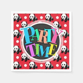 Panda linda; Lunares rojos, negros y blancos Servilletas De Papel