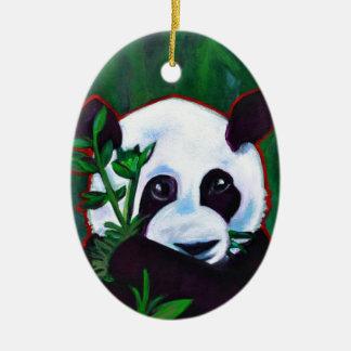 Panda preciosa adorno ovalado de cerámica