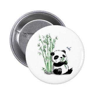 Panda que come el bambú chapa redonda de 5 cm