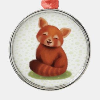 Panda roja adorno navideño redondo de metal