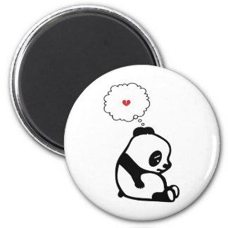 Panda triste imán redondo 5 cm