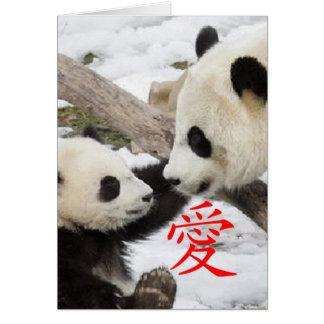 Pandas chinas del amor tarjeta de felicitación