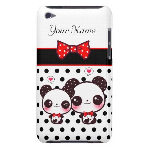 Pandas de Kawaii con el arco rojo en lunares Barely There iPod Fundas