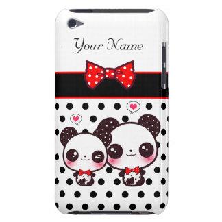 Pandas de Kawaii con el arco rojo en lunares Funda Para iPod De Barely There