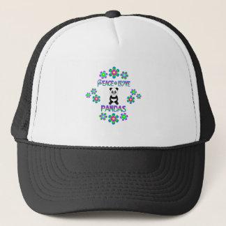 Pandas del amor de la paz gorra de camionero