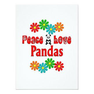 Pandas del amor de la paz invitación 13,9 x 19,0 cm