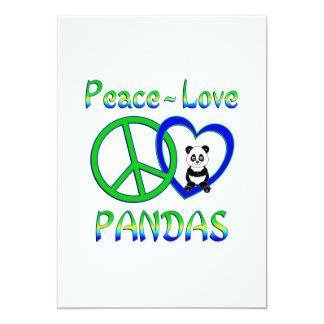 Pandas del amor de la paz invitación 12,7 x 17,8 cm