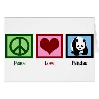 Pandas del amor de la paz tarjeta de felicitación