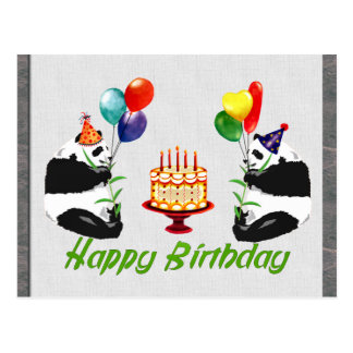 Pandas del cumpleaños postal