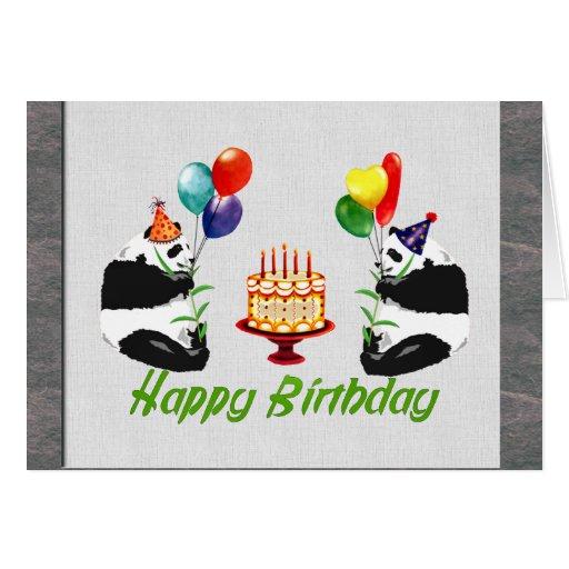 Pandas del cumpleaños tarjetas