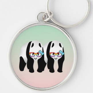 Pandas del inconformista del orgullo gay llavero redondo plateado