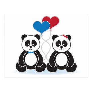 Pandas dulces del muchacho y del chica en amor postal