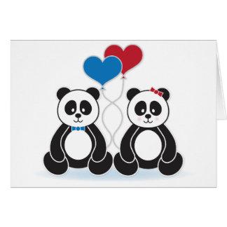 Pandas dulces en tarjetas del amor