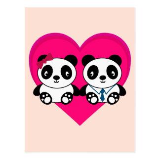Pandas en amor tarjetas postales