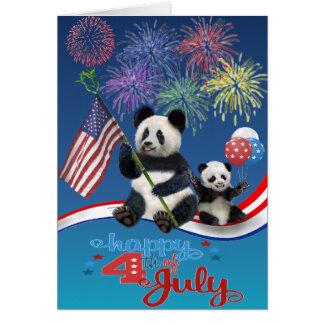 Pandas patrióticas tarjeta de felicitación