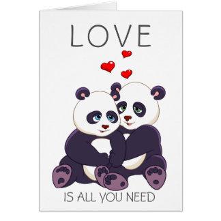 Pandas preciosas tarjeta