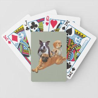 Pandilla del perro con el gato baraja de cartas bicycle